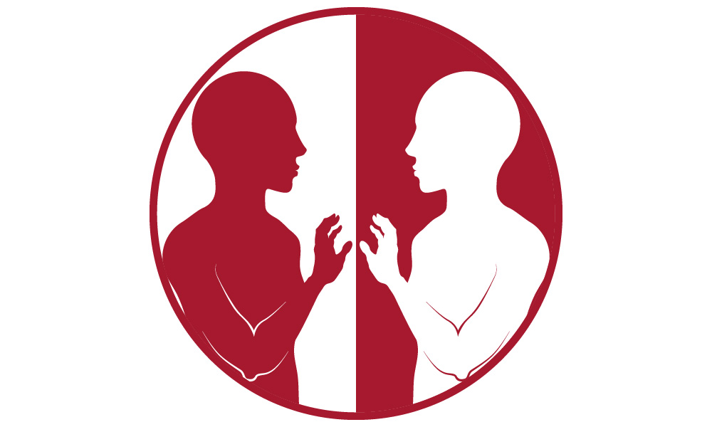 Image of two people facing each other, not touching.