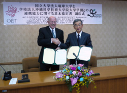 President Dorfan and President Iwamasa after signing the Agreement of Cooperation
