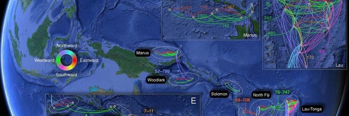 西太平洋における幼生の分散図
