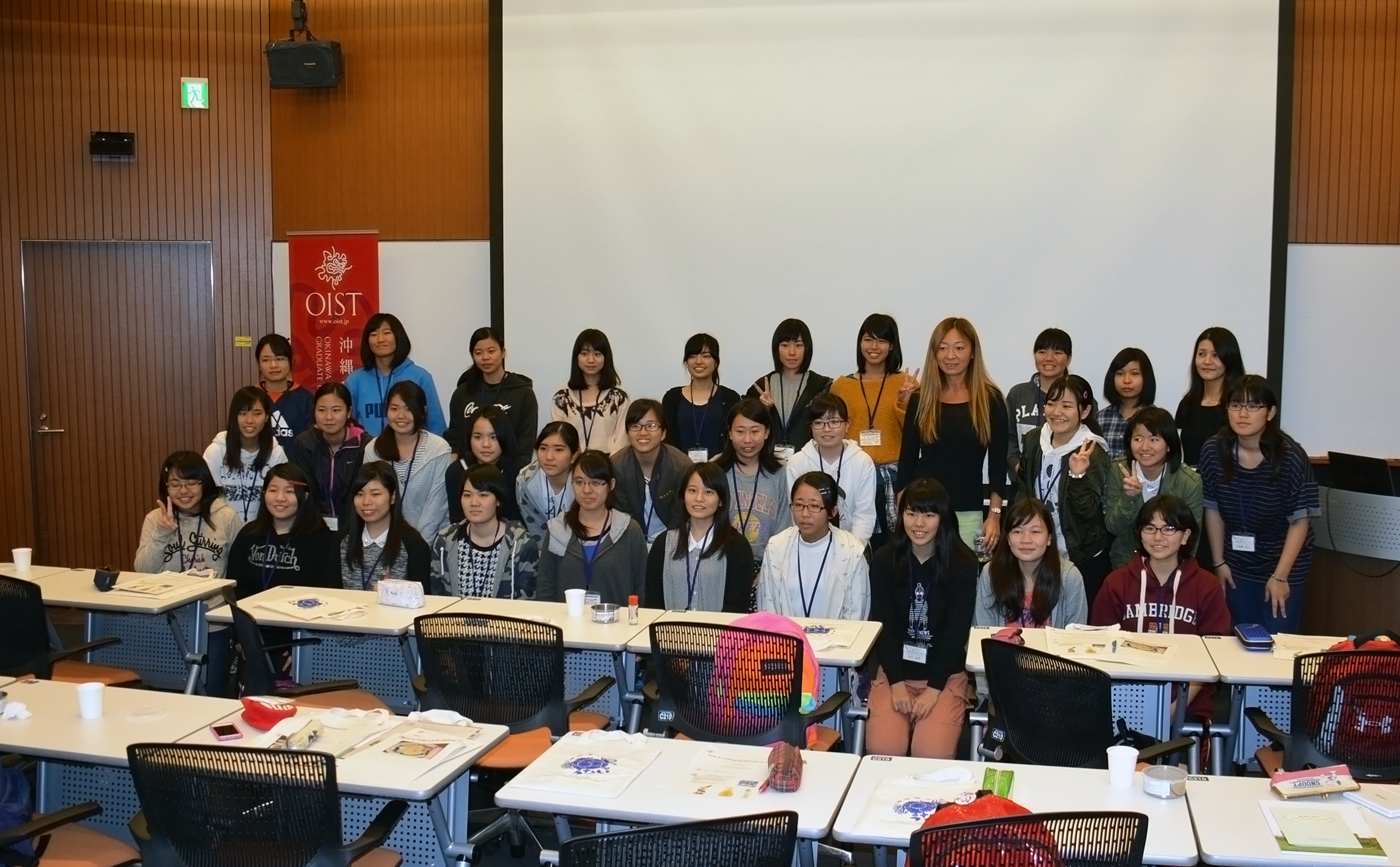 High school students from Okinawa with Prof Amy Shen