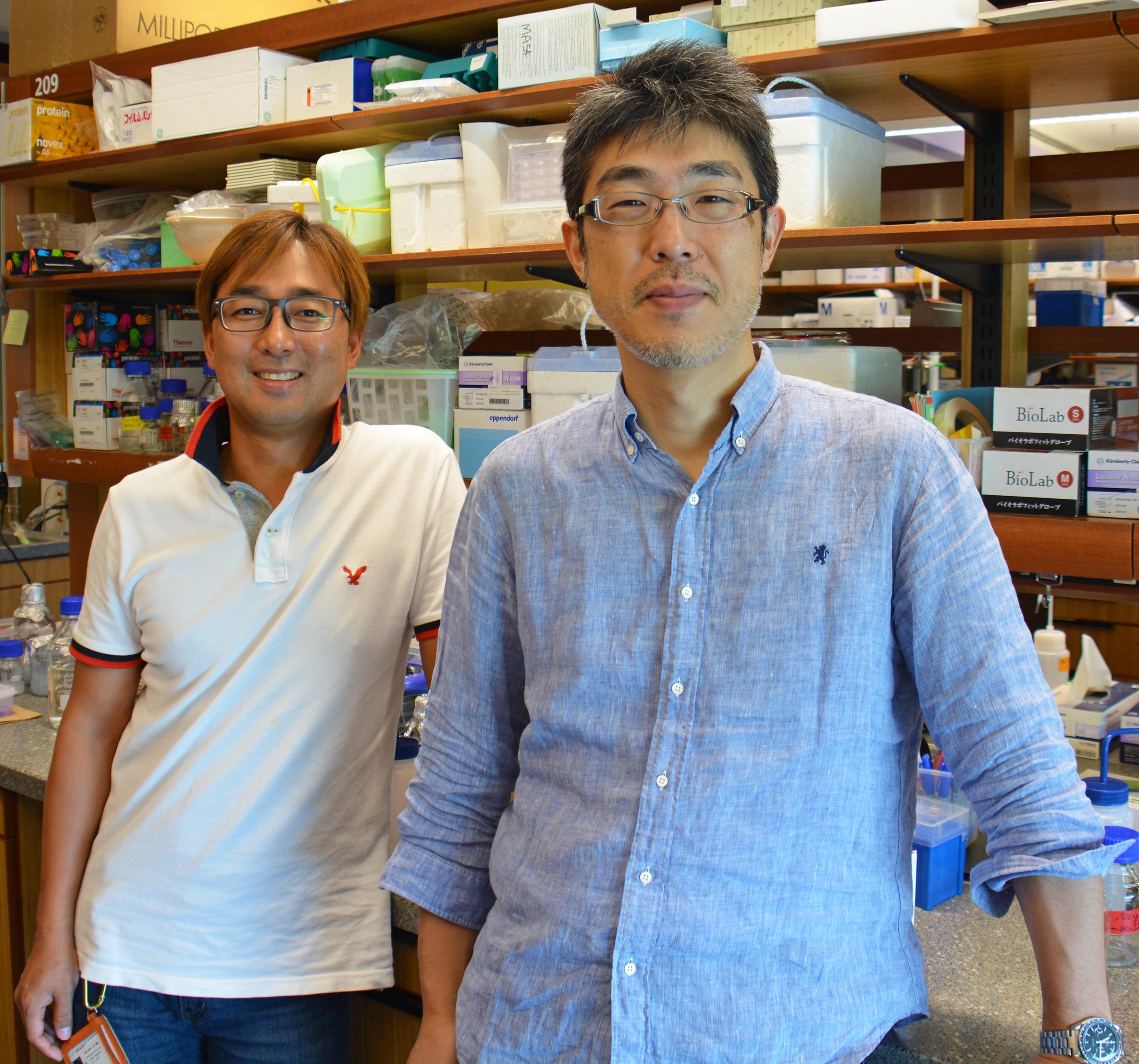 細胞膜通過輸送研究ユニットの松波秀行博士とヨンホ・ユン博士