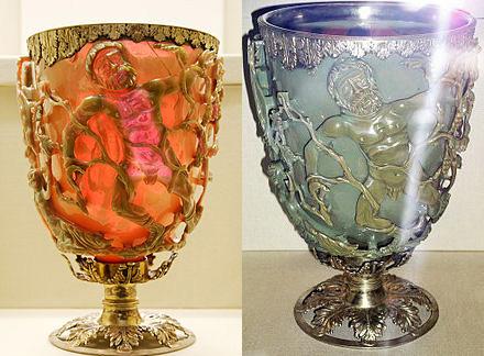 古代の職人たちがナノ粒子を利用した芸術作品の例であるリュクルゴス・カップ。カップの後ろから光を照らすことで、金の成分により赤色に見え、正面から光が当たると銀の成分により緑色になる。