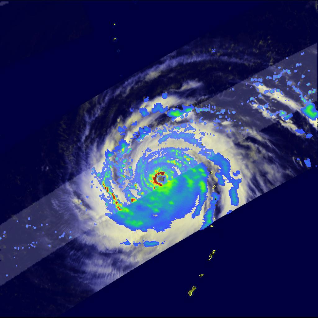 2009年9月にフィリピン東方海上を通過する台風第14号 (チョーイワン)の衛星写真