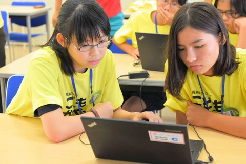 Students programming together
