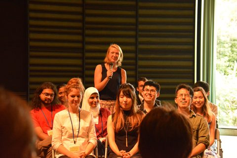 Students each introduced themselves to a gathered audience from the OIST community