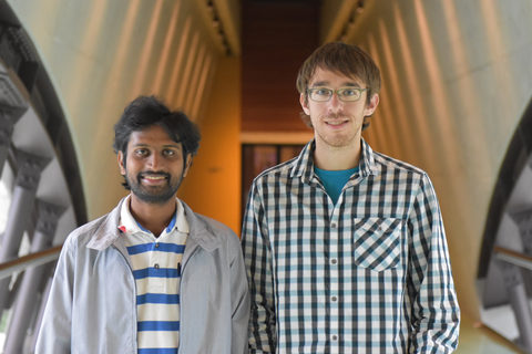 Dr. Bala Murali Krishna (left) and Christopher Petoukhoff from the Femtosecond Spectroscopy Unit