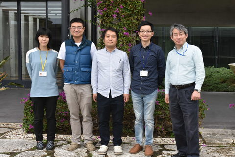 Past and present members of the Developmental Neurobiology Unit. From the left: Dr. Akane Hagiwara, OIST PhD student Hsieh-Fu Tsai, Dr. Toshiaki Mochizuki, OIST PhD student Yi-Jyun Luo and Prof. Ichiro Masai