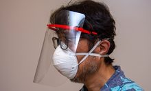 Man wearing the 3D printed face shield