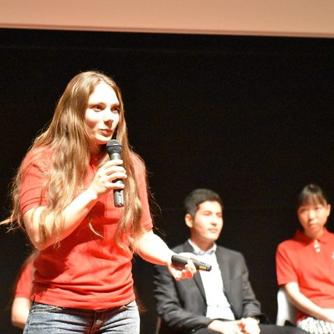 OIST's Irina Reshodko speaking to the audience about her ideas about the future