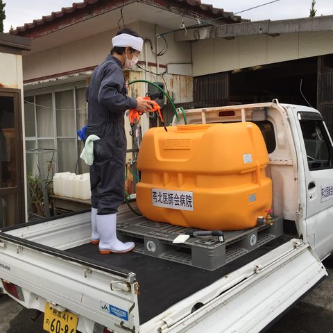Trucks went around towns to provide water to residents