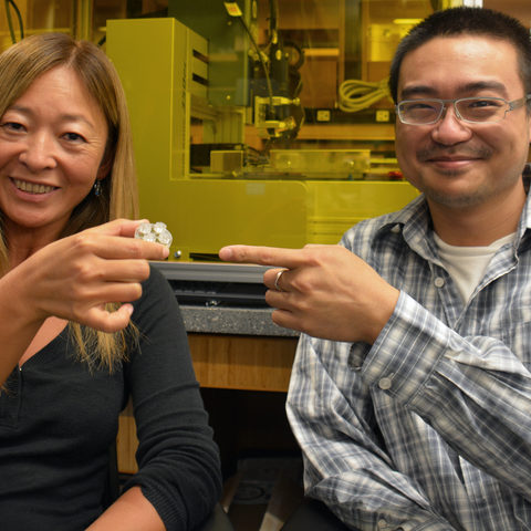 Prof Amy Shen (left), and PhD student Hsieh-Fu Tsai (right) showing the insert.