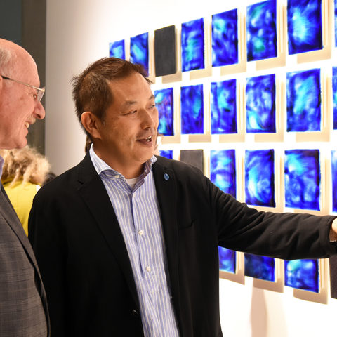 Introducing Ishigaki Blue – Master Haruhiko Kaneko talking with OIST President Jonathan Dorfan