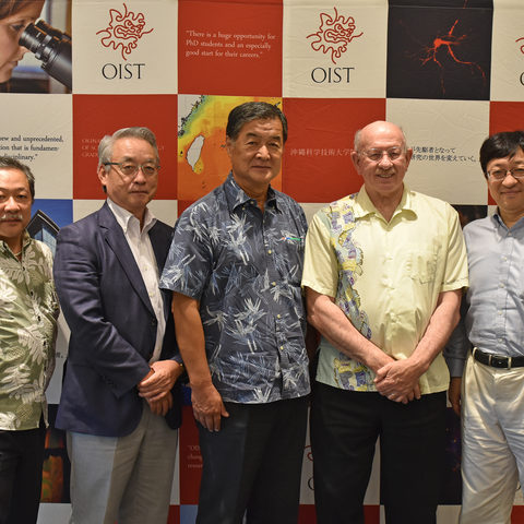 Mr. Izumi Miyashita, Director of PUES; Mr. Akio Kaneko, Executive Vice President of PUES; Mr. Haruo Satou, President and CEO of Misawa Homes Institute of Research and Development; Dr. Jonathan Dorfan, President of OIST; Prof. Hiroaki Kitano, OIST