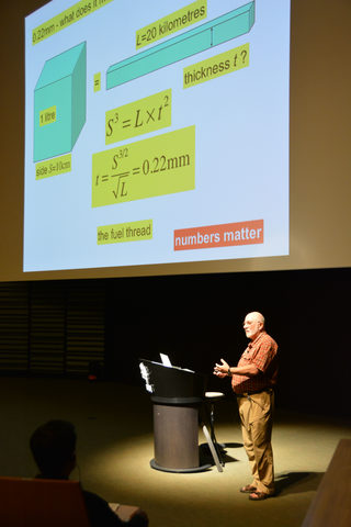 Sir Michael Berry speaking in the OIST Auditorium 25 May 2013