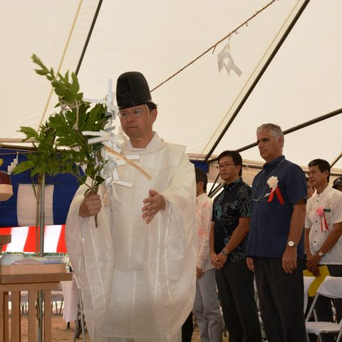 The Negi (Shinto Priest) conducts the Groundbreaking Ceremony.