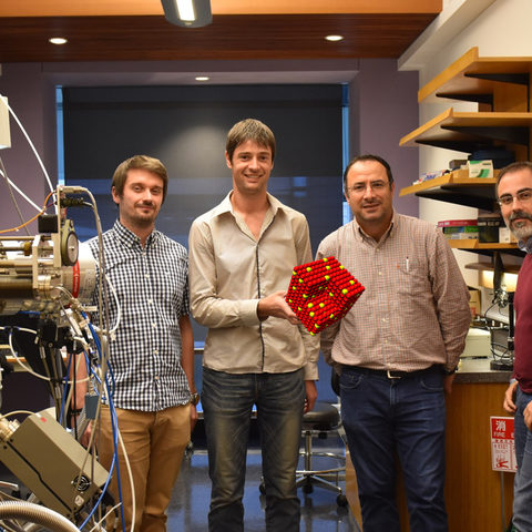 Nanoparticles by Design Unit members: (from left to right) Dr. Stephan Steinhauer, Dr. Jerome Vernieres, Prof. Mukhles Sowwan, and Dr. Panagiotis Grammatikopoulos