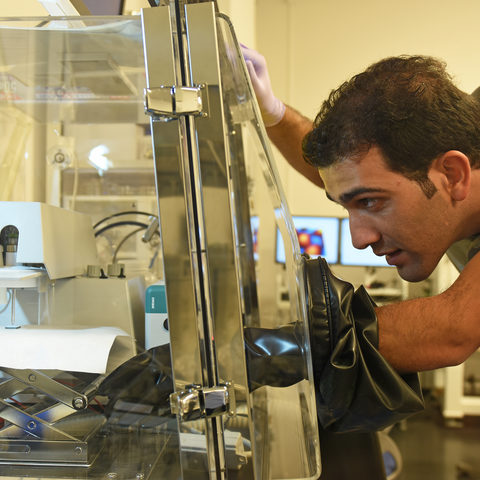 Mr. Zafer Hawash setting up the hanging mercury drop electrode system for conductivity measurement