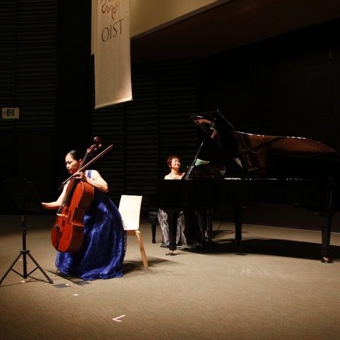 Cello Player, Megumi Shiroma, and Piano Player, Hitomi Takara, during the OIST W