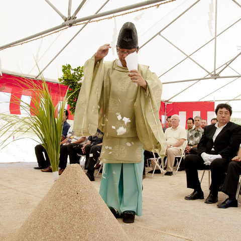The Kannushi (Shinto Priest) Performs the Groundbreaking Ceremony