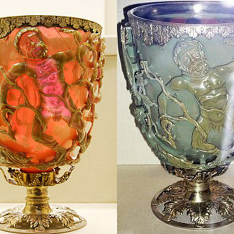 The Lycurgus cup is an example of ancient artisans' use of nanoparticles in works of art. The gold component is thought to be responsible for the red color when illuminated from behind, and the silver particles are responsible for the green appearance when light is shining on it from the front.