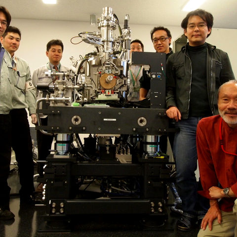 Shintake and co. with Electron Microscope Upon Delivery